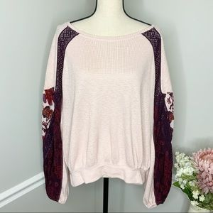 FREE PEOPLE Thermal Floral Puff Sleeve Top